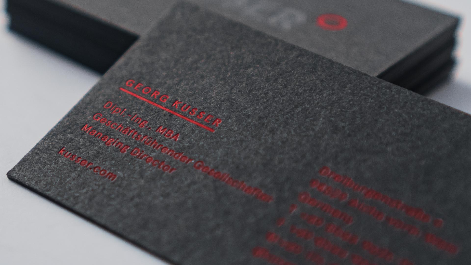 Kusser Visitenkarten Detail