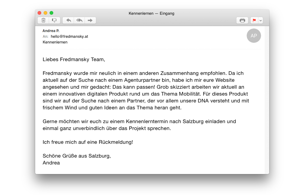 Anfrage E-Mail Kunde